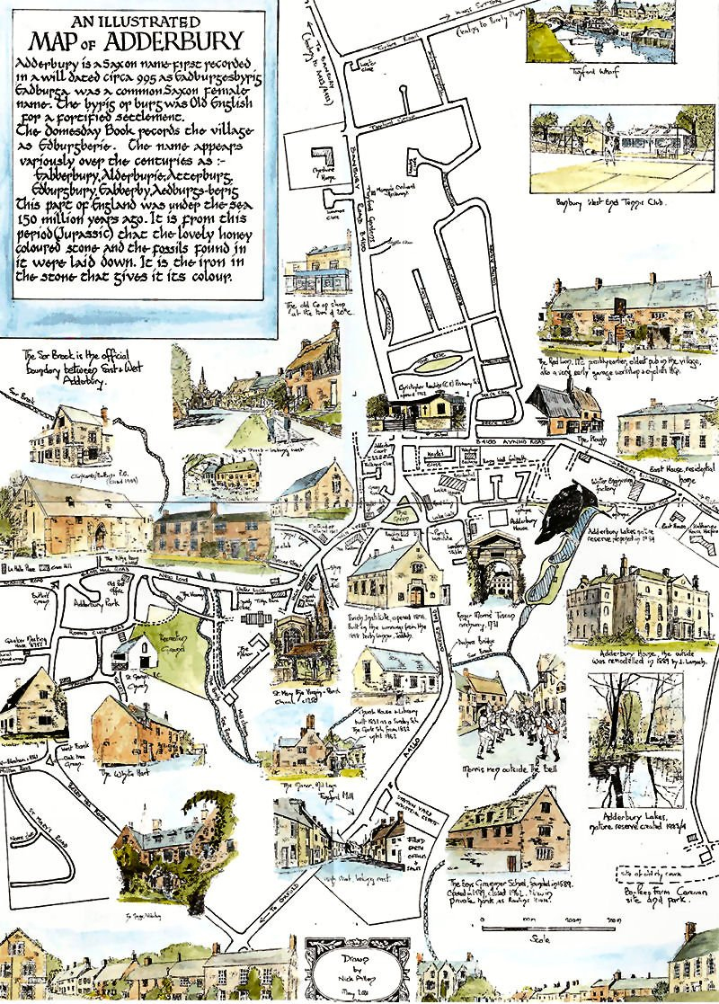 Illustrated map of Adderbury by Nick Allen